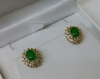 Earrings ear studs Chrysoprase and crystals SO256