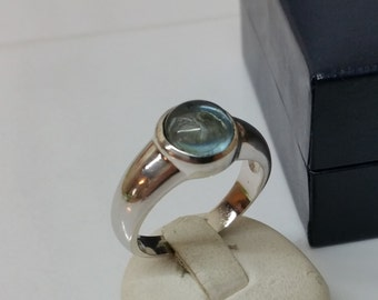 925 Silver ring with aquamarine cabochon SR490