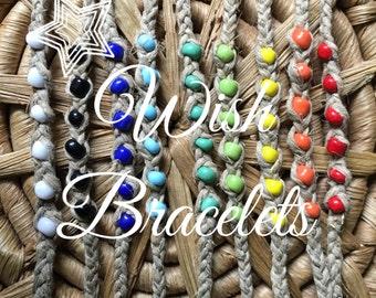Handmade Hemp Wish Bracelet - Choose Your Size And Color!