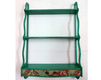 046 Small shelf with turquoise patina and drawer lined with floral fabric