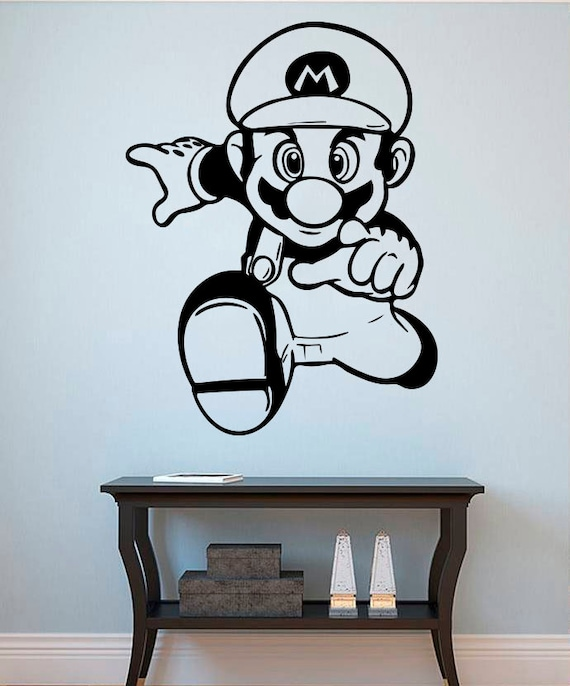 Mario wall vinyl decal super mario wall sticker game 39 s - Mario wall clings ...