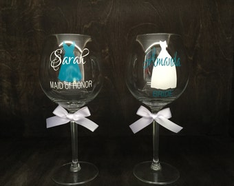Bridesmaid Gift, Bridesmaid Glass, Maid of Honor Glass,Personalized Glass, Bride Glass, Bachelorette Party Glass, Wedding Glass