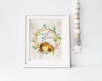 Nursery Wall Art, Nursery Decor, Woodland Nursery, Woodland Animals, Sweet dreams nursery print, Baby Gift, Nursery art Woodland moose print