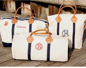 Monogrammed luggage set,Monogrammed Weekender,Monogrammed Duffel,Monogrammed Messenger Bag,Leather,Canvas