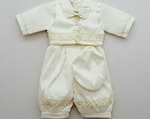 Ropon de Bautizo Para Nino  Heirloom Baptism Christening Boys Romper Outfit Vintage Victorian Style Boys Robe Jumper Romper Outfit