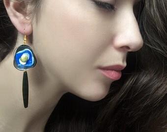 SALE Acrylic Earrings in Blue, PET Upcycled Plastic Jewelry, Plastic Bottle Earrings, Drop Eco-friendly Earrings by ENNA