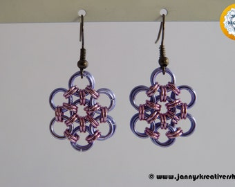 Japanese flower in Lavender pink, earrings, Chainmaille