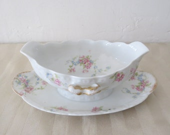 Theodore Haviland Limoges France Schleiger Gravy Boat with Attached Underplate JC