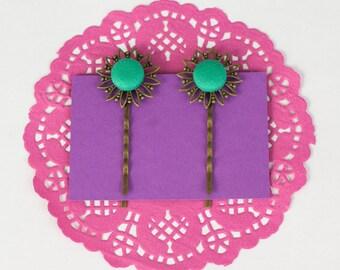 Jade Green Flower Hair pins, Vintage Hair, Antique Hair Pins, Covered Buttons