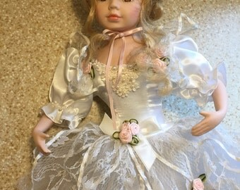 1990s Vintage Porcelain Baby Doll - Ballerina - Blonde Hair and Brown Eyes - Original Outfit - Lace Ruffles - Cute - Kids Toy - Decoration