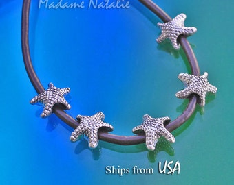 Starfish Big Hole Beads (8) Fit 4 mm Leather Cord, Antique Silver Starfish Beads, Europen Style Beads, Ocean Life Beads, Starfish Bracelet