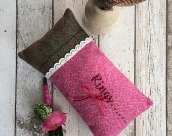Ring Pillow, Bespoke Ring Pillow, Tweed Ring Bearer Pillow, Country Wedding, Rustic Wedding, Barn Wedding Accessory