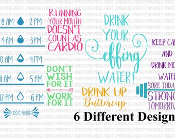 SVG Water Bottle Label svg file Water Tracker Fitness Decal Fitness svg Silhouette Cameo Sore Today Strong Tomorrow Drink Up Buttercup