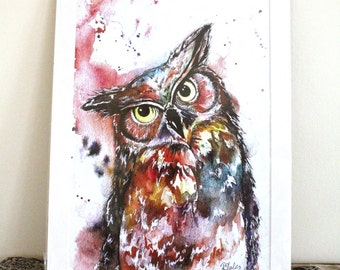 Berty The Owl Limited Edition A3 Painting Watercolour Colour Print