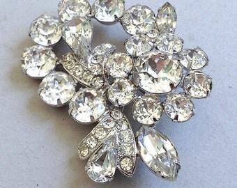 New Price* Eisenberg Rhinestone and Rhodium Pin/Brooch