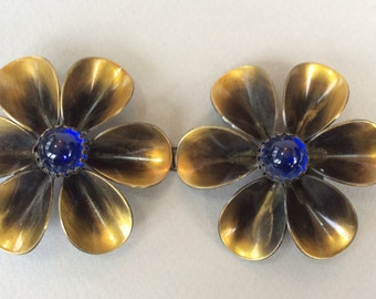 Double Buckle Copper Flower and Blue Glass Belt Buckle