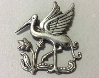 Rare Pegasus Coro Stork and Tulip Sterling Pin/Brooch