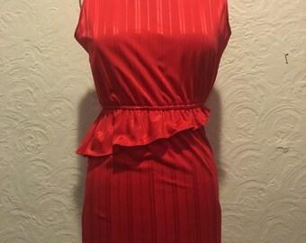 Vintage Red Mini Dress with Peplum Detail