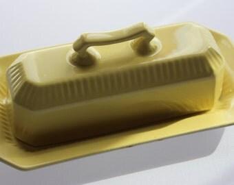 Ironstone Interpace Japan Yellow Butter Dish Keeper -- Octagonal Shape -- 1776 Independence Japan -- Lemon Yellow