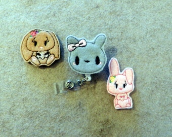 Felt Bunny Rabbit Badge Reel, Medical Badge Reel, ID Badge Holder, Retractable Belt or Alligator clip, Felt, Feltie, animal