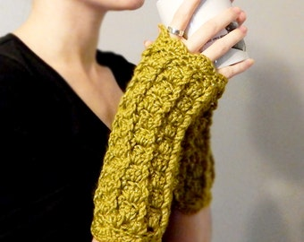 Green Lacy Crochet Fingerless Gloves