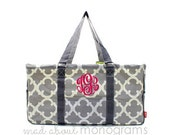 Personalized Monogrammed Collapsible Deluxe Large Utility Tote Bag   GREY Gray QUATREFOIL   Teacher Gift   Tailgating   Carry All Organizer