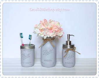 Gray Mason Jar Bathroom Set of 3-RustProof Soap Pump & Lid-Rustic Decor-Housewarming gifts-Southern Bathroom Decor-Country Chic Decor-Gray
