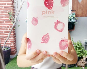 CUSTOM TEXT Journal, Pink Printed Strawberries Notebook, Pastel Watercolor Handpainted Strawberry, Minimalist White Cute Present for Her