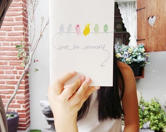 CUSTOM TEXT Journal, Just Be Yourself Quote Notebook, Pastel Watercolor Handpainted Birds on Wire, Minimalist White Elegant Gift for Her