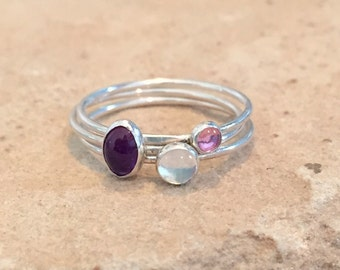 Stackable sterling silver rings, pink tourmaline, moonstone, and amethyst sterling silver rings, small rings, gift for her