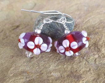 Pretty pink and rose colored lampwork glass bead drop earrings, sterling silver earrings, dangle earrings, red drop earrings, gift for her