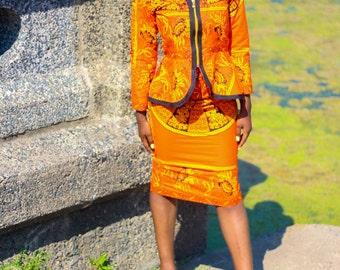 Orange Skirt Suit