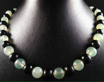 Jade green and black tourmaline necklace