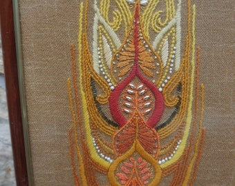 Wheat - Mid Century Modernist Large Textile Embroidery Collage Framed Applique Art Picture