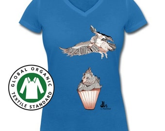 Women's Organic V-Neck T-shirt. Organic Cotton. Organic Tee. T-shirt with illustrated print. Women's Clothes, Bear, Vulture, Cupcake Print.