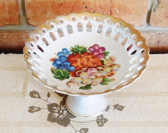 Japan Royal Garden Ware fine china pedestal bowl compote cake sweets server pierced edge 1960s high tea