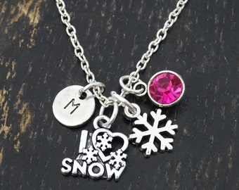 I Love Snow Necklace, I Love Snow Charm, I Love Snow Pendant, Winter Necklace, Winter Jewelry, Skiing, Snowflake Necklace, Snowflake Charm