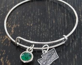 Washington Bangle Bracelet, Adjustable Expandable Bangle Bracelet, Washington Charm, Washington Pendant, Washington Jewelry,Washington State