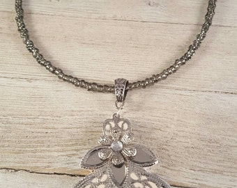 Metal Lace Clay Pendant Necklace