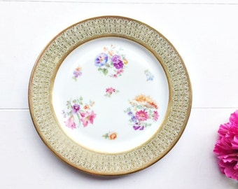 Vintage P T Bavaria Tirschenreuth Dinner Plate - Wall Plate, Tea Party Plate, Floral Plate, Pretty Vintage Plate, Decorative Plate