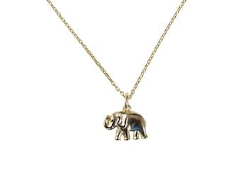 Elephant Pendant Necklace. 925 Sterling Silver Gold filled Elephant necklace.