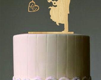 Unique Wedding Cake Topper Couple Fishing Pole Heart Rustic Custom