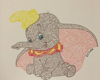 Dumbo Doodle Print