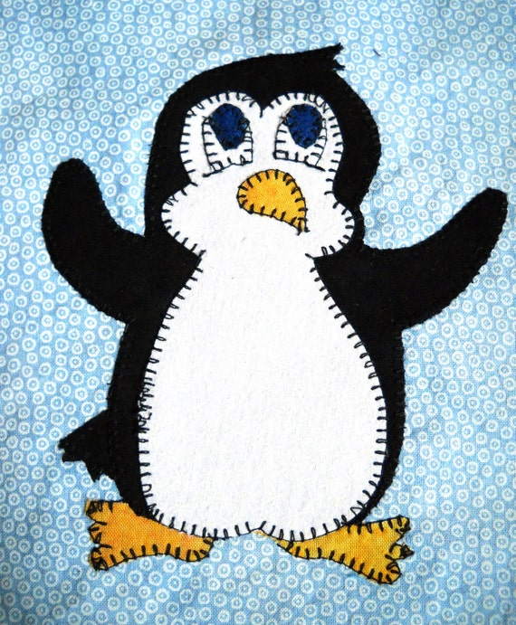 Penguin Pdf Applique Pattern Baby Quilt Pattern By