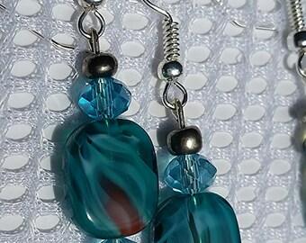Marbled teal handmade earrings