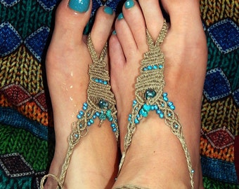 Pair of barefoot feet lin and Turquoise Jewelry