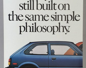 1980 Honda Civic Double Page Print Ad - Honda Civic DX Hatchback and Honda Civic 1500 CX