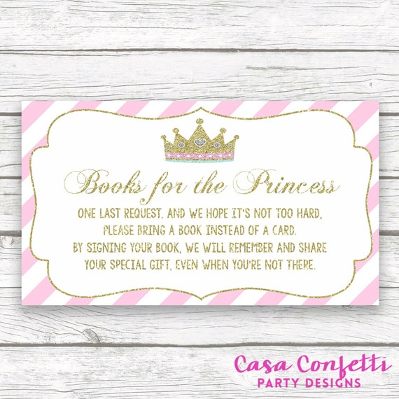 bring a book instead of a card baby shower insert princess baby