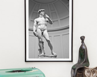 Statue of David, Florence Italy, Black And White, Italy Art, Fine Art Print, Classical Art, Michelangelo, Renaissance, Neutral home decor