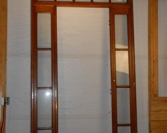 "Interior French Door Surround, Sidelights and Transom 100"" Tall, 1910's Antique #1687"